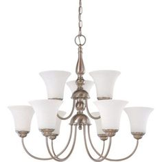 Nuvo Lighting 61823 - 9 Light (Medium Screw Base) 27.5 inch Dupont Brushed Nickel Finish with White Satin Glass Chandlier Light Fixture (60-1823), Silver