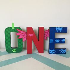Custom Decorated Stand Alone Letters - Embelished - Extra Embellishments - Stand Alone Letters - PJ Masks