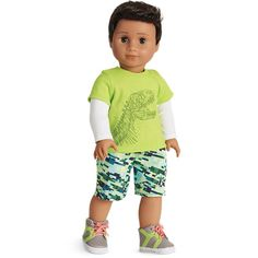 Dino-mite Outfit for Dolls This doll-sized outfit is dino-mite! Includes a tee with a dinosaur skeleton graphic and mock-layered sleeves, shorts with contrast stitching, & high-top shoes. American Boy Doll, All American Girl, American Girl Clothes, 18 Inch Boy Doll, Outfits Fo, Boy Doll Clothes, Camo Skirt, Camo Baby Stuff, Girl Dolls