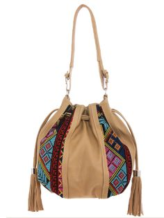 Embroidered Aztec Faux Leather Bucket Bag {3 Color Options}