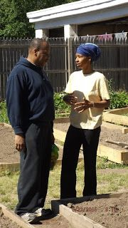 Grow Your Own: Suburban Gardening: The 4th Ward Council converses with one of the gardeners. He also gardens with us.