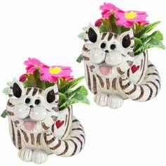 Cat Planters - Exhart made reproductions of Sherri's design #PencePets #PenceAnimalSculpture #CuteCats