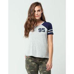 Full Tilt 95 Womens Football Tee ($13) ❤ liked on Polyvore featuring tops, t-shirts, short t shirt, raglan sleeve t shirts, full tilt, raglan sleeve top and jersey tee