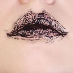 lowkey tim burton vibes ~ using #katvondbeauty ink liner in trooper 〰 #lipart…