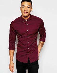ASOS+Skinny+Shirt+In+Burgundy+Twill