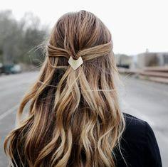 Brass Geometric Barrette, Minimal Geometric Barrette, Triangle French Barrette, Minimalist Barrette, Simple Gold Hair Clip | The Charity