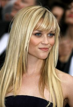 HAIRLebrity Reese Witherspoon! Her long straight style with thin, light brown slices of color throughout her blonde hair give contrast and a sexy sun-kissed look. Straight hair is prone to appearing dry and damaged since breakage is reflected by light on straight hair and there are no curls to hide them. If you choose this style of Reese's, see your stylist often for a minimal trim to keep it healthy looking without loosing length.