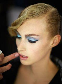 Giorgio Armani's spring 2013 turquoise eye. | http://www.makeup.com/article/giorgio-armani-spring-2013-blue-eyeshadow-how-to/
