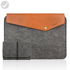 Kamor 13 13.3 inch Apple MacBook Air Macbook Pro Felt & Leather Laptop Case sleeve With Macbook Charger case(Vintgae Style, Dark Gray) Protective Carrying Sleeve Bag Case Cover Shell - Fun stuff and gift ideas (*Amazon Partner-Link)