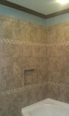 Ceramic tile tub surround ideas stone corner shelves for Fiberglass crown molding