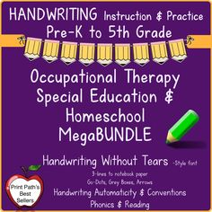 This Handwriting Bundle for PreK-5th Graders is created by school based occupational therapist, Thia Triggs of Print Path. This Handwriting Without Tears© -style letter font, uses 3-lines to best support your students. There are Go-Dots, Gray-Boxes, and Simple Arrows that inform rather than confuse learners. Best practices include research based methods incorporating application of developmental …