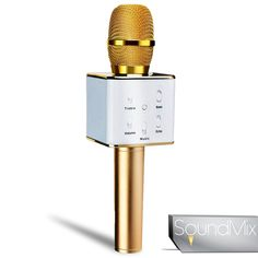 Soundmix Q7 Portable Karaoke Microphone-Wireless Vocal Microphone for Singing, Recording, Interviews or Podcasts - Features Built-In Bluetooth Speaker and Tuning Buttons-Audio and USB Cables Included