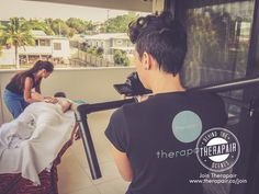 Danielle and Sheree in action behind the scenes during Maida Saragih's professional photo and video shoot for her profile on Therapair! #therapair #danielleandsheree #health #massage #massagetherapy #massagemarketing