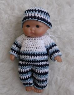 Crochet pattern for Berenguer 5 inch baby doll by petitedolls