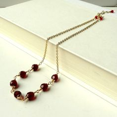 Red Necklace Beaded Faceted Glass Wire by ReneeBrownsDesigns, $18.00