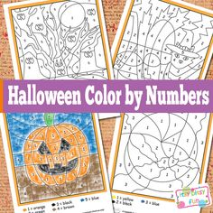 These cute Halloween free printables make fun kids crafts. Halloween Color by Numbers Worksheets are perfect Halloween a Halloween Class Party, Fall Halloween, Happy Halloween, Halloween For Kids, Halloween Activities For Kids, Halloween Quotes, Halloween Games, Halloween Horror, Vintage Halloween