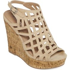 Style Charles Antwerp Cork Wedge Sandals ($36) ❤ liked on Polyvore featuring shoes, sandals, wedges shoes, ankle strap wedge sandals, platform shoes, platform sandals and open toe sandals