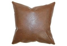 Airlie 18x18 Faux-Leather Pillow, Brown