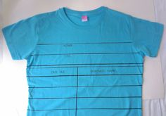 New Color! Teal Blue Ladies Library Due Date Card Graphic T-shirt by ShopJustWish