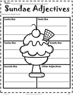 Adjectives Worksheets and Activities First Grade Adjectives Activities, Descriptive Writing Activities, Comprehension Activities, Teaching Writing, Literacy Activities, English Grammar Worksheets, Grammar Lessons, Writing Lessons, Adjective Anchor Chart