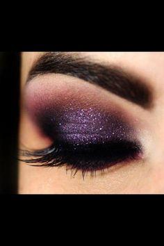 Purple glitter eye make up