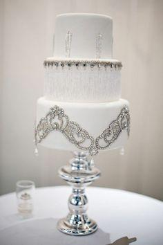 art deco wedding cake - beaded and bedazzled white wedding cake Glamorous Wedding Cakes, White Wedding Cakes, Beautiful Wedding Cakes, Gorgeous Cakes, Gorgeous Gorgeous, Bling Cakes, Fancy Cakes, Art Deco Cake, Cake Art