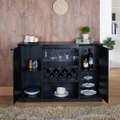 Complete your formal dining room with this beautiful wood wine bar buffet. Perfect for entertaining, the buffet is crafted with austere straight lines that blends with any decor. This storage unit has