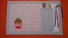 Porta prato/talher com toalha lavabo R$ 24,50