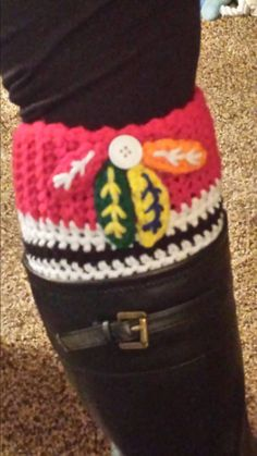 Chicago Blackhawks crocheted boot cuffs.