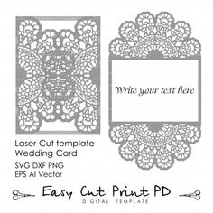 "Lace crochet doily Wedding invitation 5x7"" Rustic Pattern Card Template (svg, dxf, dwg, ai, eps, png, pdf) laser cutting Silhouette Cameo"