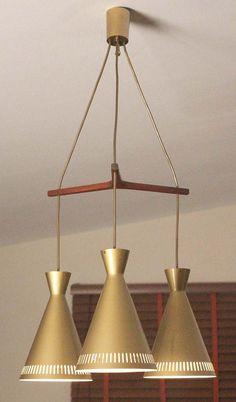 Mid Century Danish Triple Pendant Lamp Teak Diabolo Shade Lampe Eames