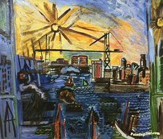 The Transporter Bridge in Marseille Artwork by Raoul Dufy Hand-painted and Art Prints on canvas for sale,you can custom the size and frame