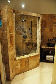 Miraculous Diy Ideas: Shower Remodel With Window Tubs master shower remodel on a budget.Bathroom Shower Remodel Before And After fiberglass shower remodel on a budget.Old Stand Up Shower Remodel. Rustic Bathroom Shower, Tuscan Bathroom, Natural Bathroom, Stone Bathroom, Modern Bathroom, Bathroom Showers, Bathroom Interior, Relaxing Bathroom, Eclectic Bathroom