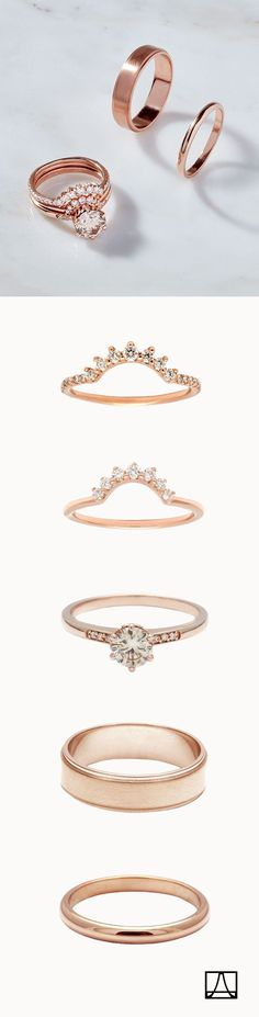 The champagne diamond Hazeline engagement ring in rose gold. Style with an endless array of diamond and gold nesting bands to make a ceremonial suite that's uniquely yours.