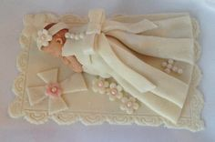FONDANT CHRISTENING CAKE Topper Christening Baby Girl Baby Shower First Birthday Decorations Christening Gown. $35.00, via Etsy.