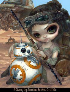 Rey and BB-8 by Jasmine Becket-Griffith Disney WonderGround Gallery Star Wars art big eye lowbrow pop surrealism Disney art Lucasfilm bb8 Jaaku art