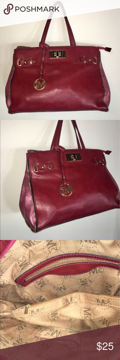"""Michael Michele """"McCardell"""" Tote Bag. Wine Wonderful colors on this preloved Michael Michelle """"McCardell"""" tote bag in vegan leather. Great detailing. In great shape with no rips or tears in lining. Easily holds all your needs for work and stylish enough to take out on the town for the evening! Michael Michelle Bags"""