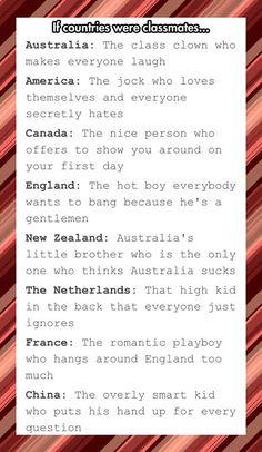 If countries were classmates< Hetalia. What you want is Hetalia. Funny Quotes, Funny Memes, Hilarious, Aussie Memes, Aussie Tumblr, Australia Funny, Hetalia Australia, Australia Country, Lol