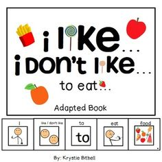 I like...  I don't like... to eat.... adapted book perfect for special education, special day class or SLP.  Personal preferences, sentence structure, writing!