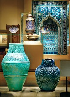 """Divine Inspiration' exhibition at the Metropolitan Museum of Art in New York - ceramic vessels and a mihrab, or prayer niche, from Iran. Persian Architecture, Art And Architecture, Classical Architecture, Islamic World, Islamic Art, Arabesque, Persian Culture, Iranian Art, Arabic Art"