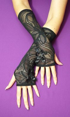 Gothic Lace Gloves, Black Stretchy Armwarmers with Satin Bows, Gothic, Vampire Style, Belly Dance,Costume,Fingerless