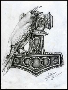 Thor Hammer & crow
