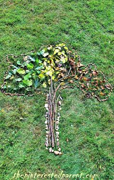 Nature art - fall kids activity and craft made out of things found in nature