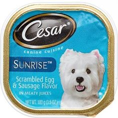 Cesar Canine Cuisine Sunrise Scrambled Egg & Sausage Flavor in Meaty Juices Dog Food ~~ You can check out this great product. (This is an affiliate link and I receive a commission for the sales)