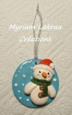 """""""Fabriquer ses décos de sapin soi-même"""" - Bonhomme de neigé (snowman) - Myriam Lakraa Créations 2012 - Pâte polymère Fimo (polymer clay  ornament)"""