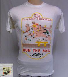 0269a61d0cd2c Vintage 80s Beer Connioseur Molly s Pub Run the Rail T-Shirt Screen Stars  Tag XL