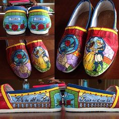 Beauty and The Beast | Community Post: 25 Beautifully Hand-Painted TOMS For Every Fandom