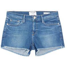 Frame Denim 'Le Cutoff' denim shorts ($200) ❤ liked on Polyvore featuring shorts, blue, blue shorts, cut off denim shorts, summer jean shorts, cut-off shorts and frayed denim shorts
