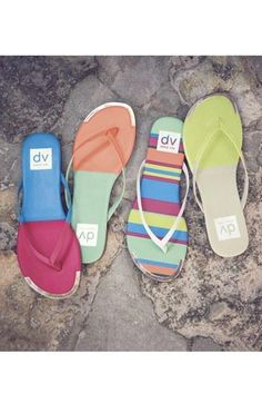 We love the colors and metallic edge to these polished flip flops.
