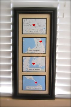 MARK Personalized Framed Map Art-Bridal Shower, Wedding, Anniversary Gift.  via Etsy.